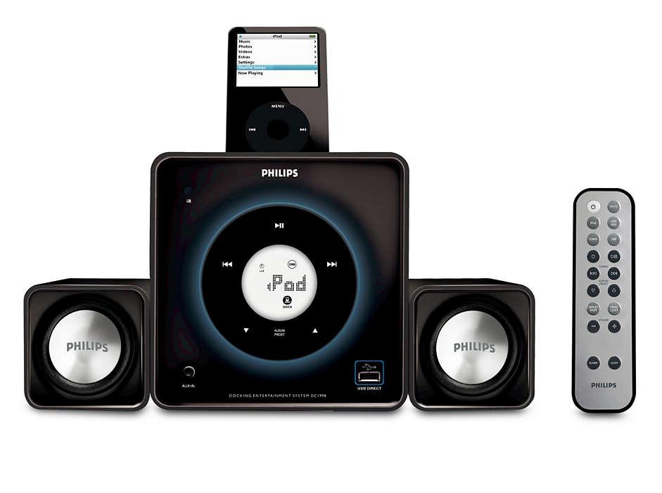 Položte na základňu a prehrajte svoju digitálnu hudbu nahlas