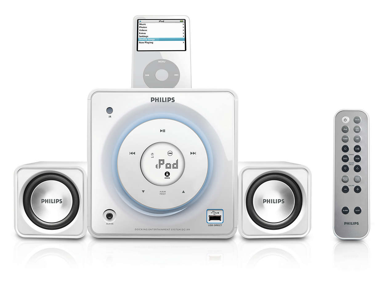 Speel uw digitale muziek af via het dock