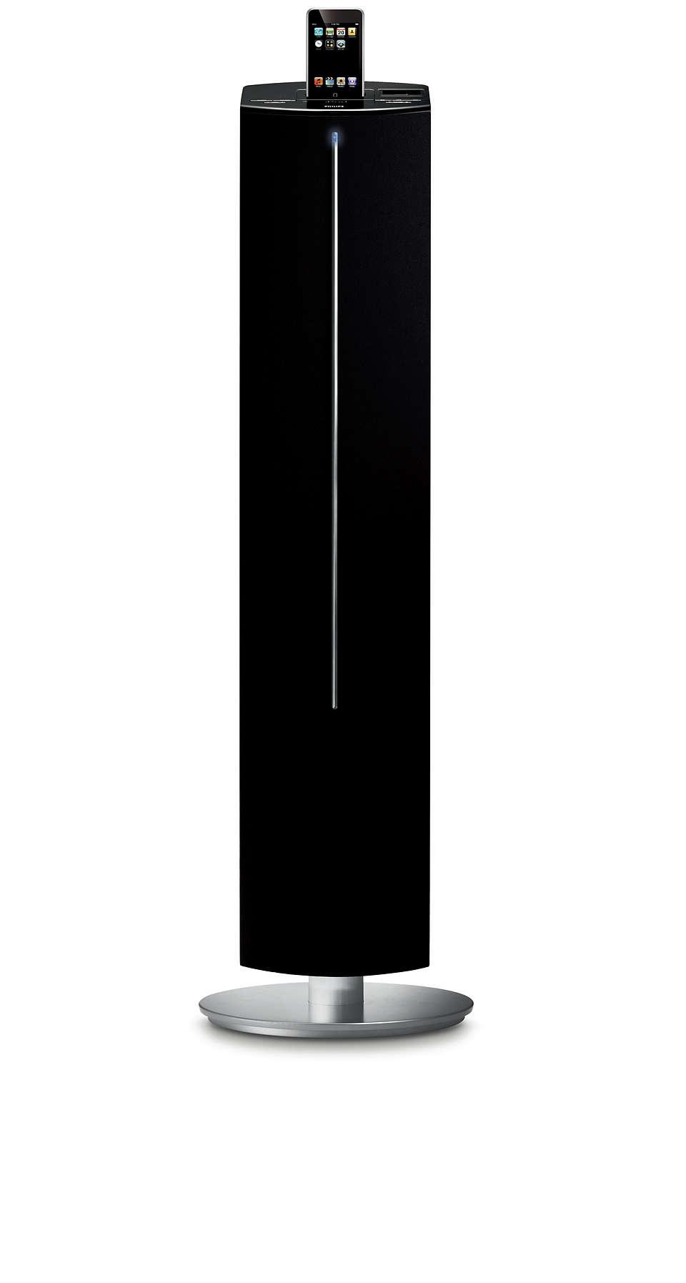 Curta músicas no iPod bem alto com a torre de caixa acústica