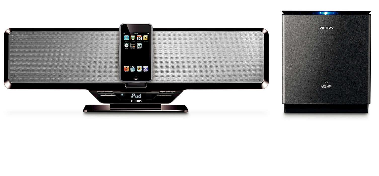 Station pour iPod avec caisson d'extrêmesgraves sansfil