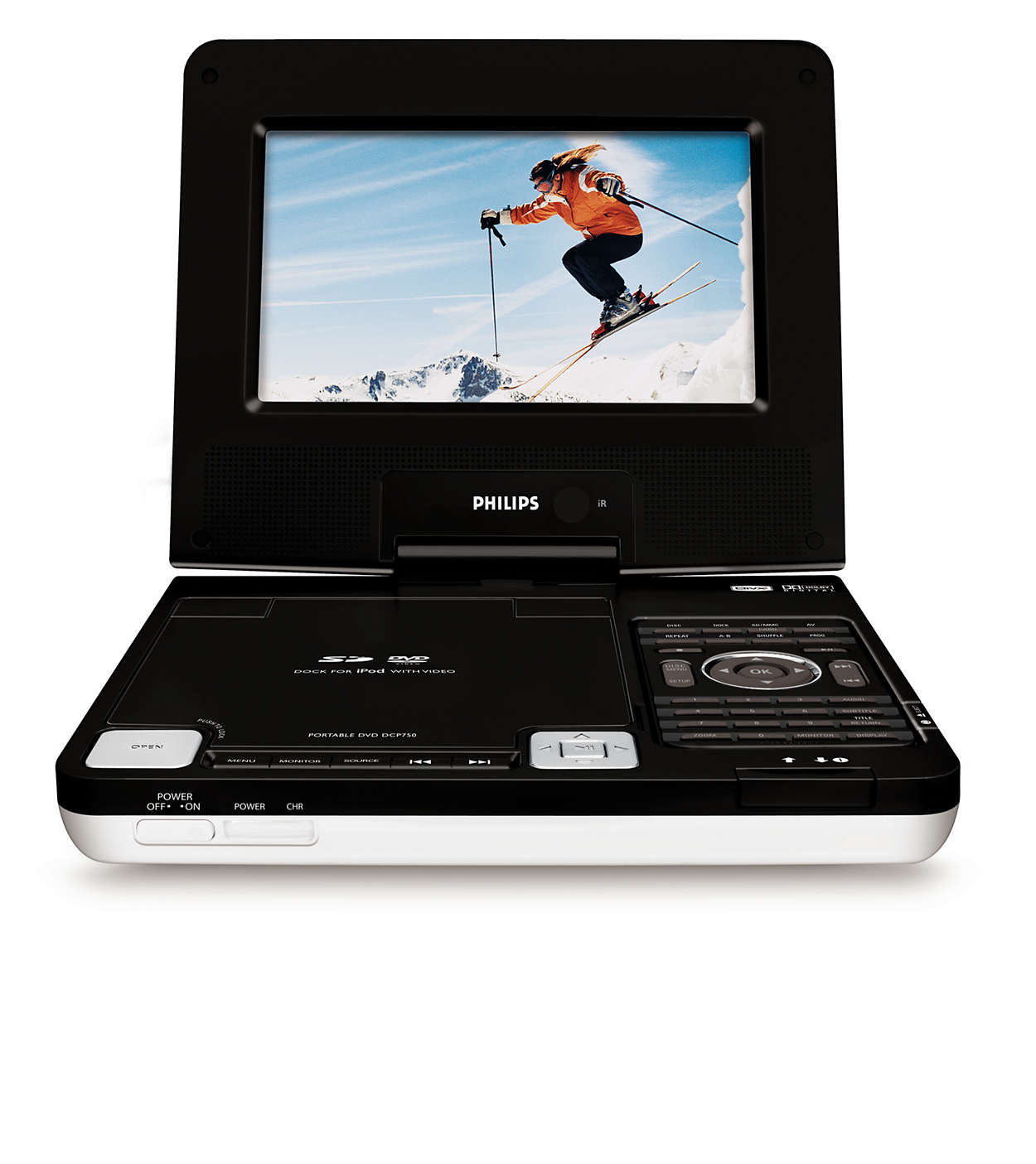 Desfrute de vídeos em iPod, DVD e cartões SD