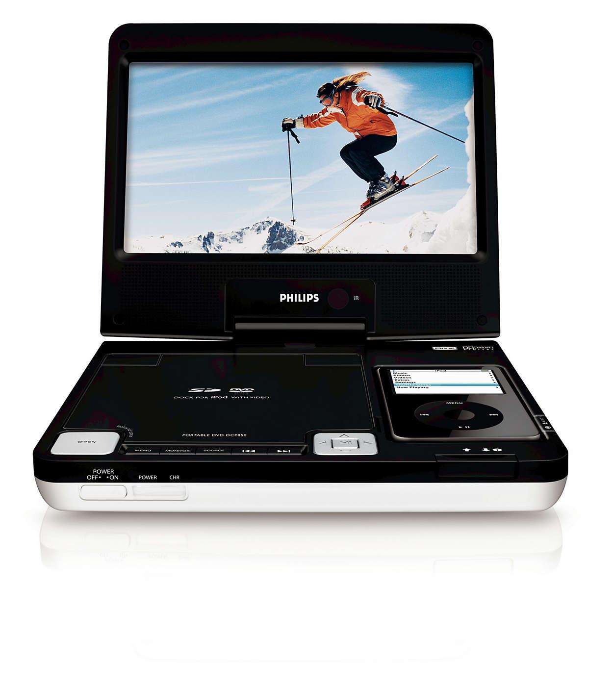 Kos deg med videoer fra iPod, DVD og SD-kort