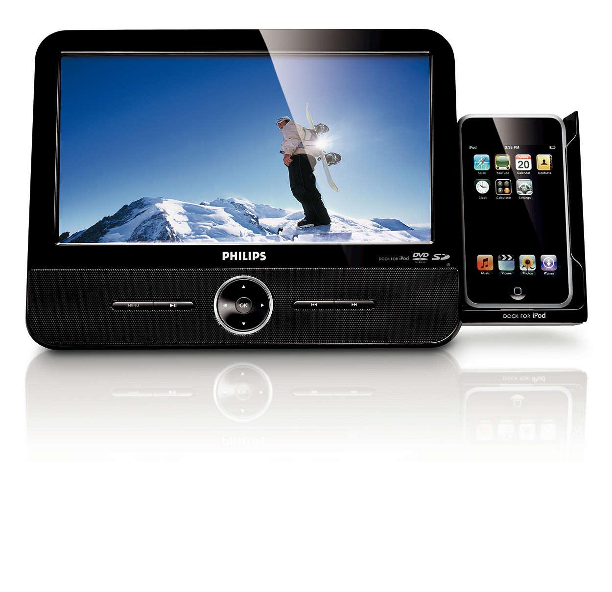 Смотрите видеозаписи с iPod, DVD и карт SD