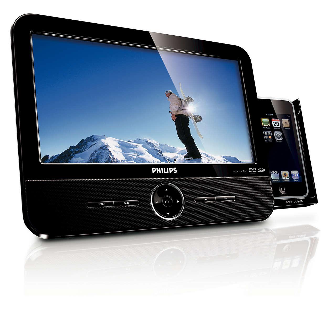 欣賞 iPod、DVD 和 SD 記憶卡中的影片