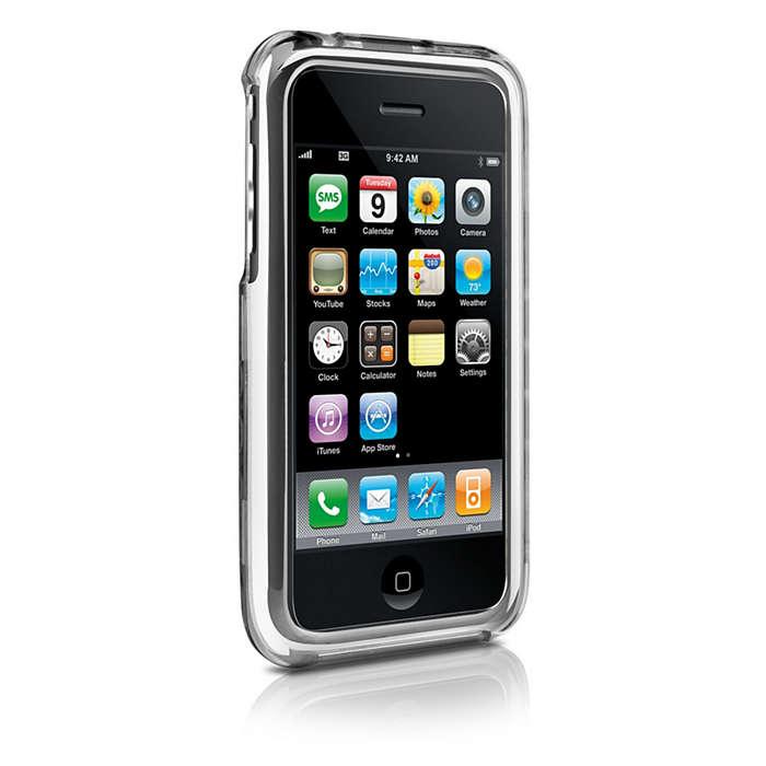 使用清晰透明硬殼包保護您的 iPhone
