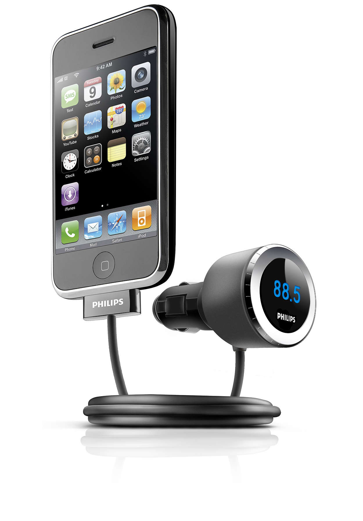 Afspil og oplad din iPhone i bilen