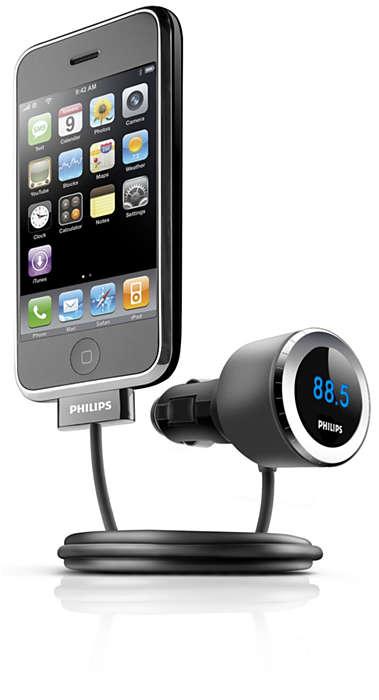 Reproduza e carregue o seu iPhone no automóvel