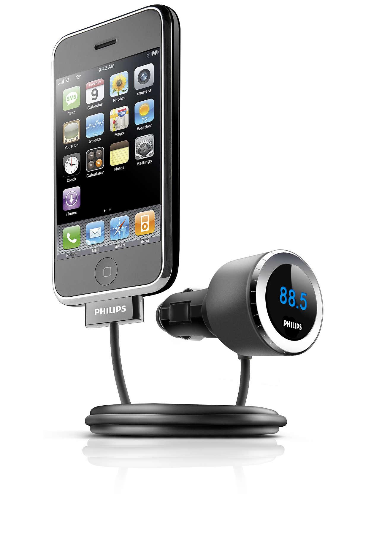 Воспроизведение и зарядка iPhone в машине