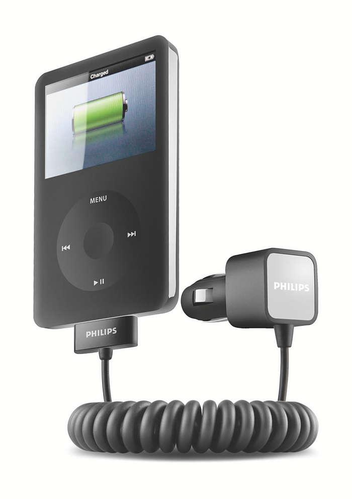 Uzlādējiet iPod, esot ceļā