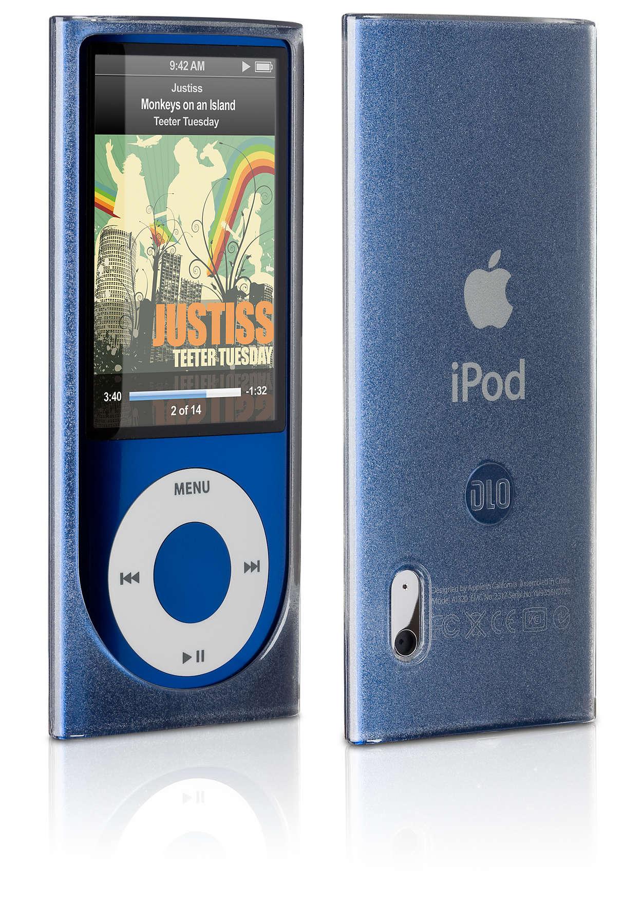 Schützt Ihren iPod in einer flexiblen Hülle,