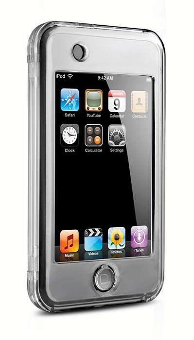 Защищает iPod при помощи прозрачного покрытия