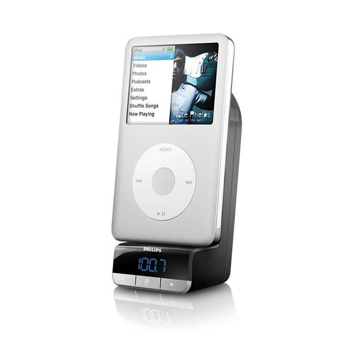 Atskaņojiet, uzlādējiet un uzstādiet iPod automašīnā