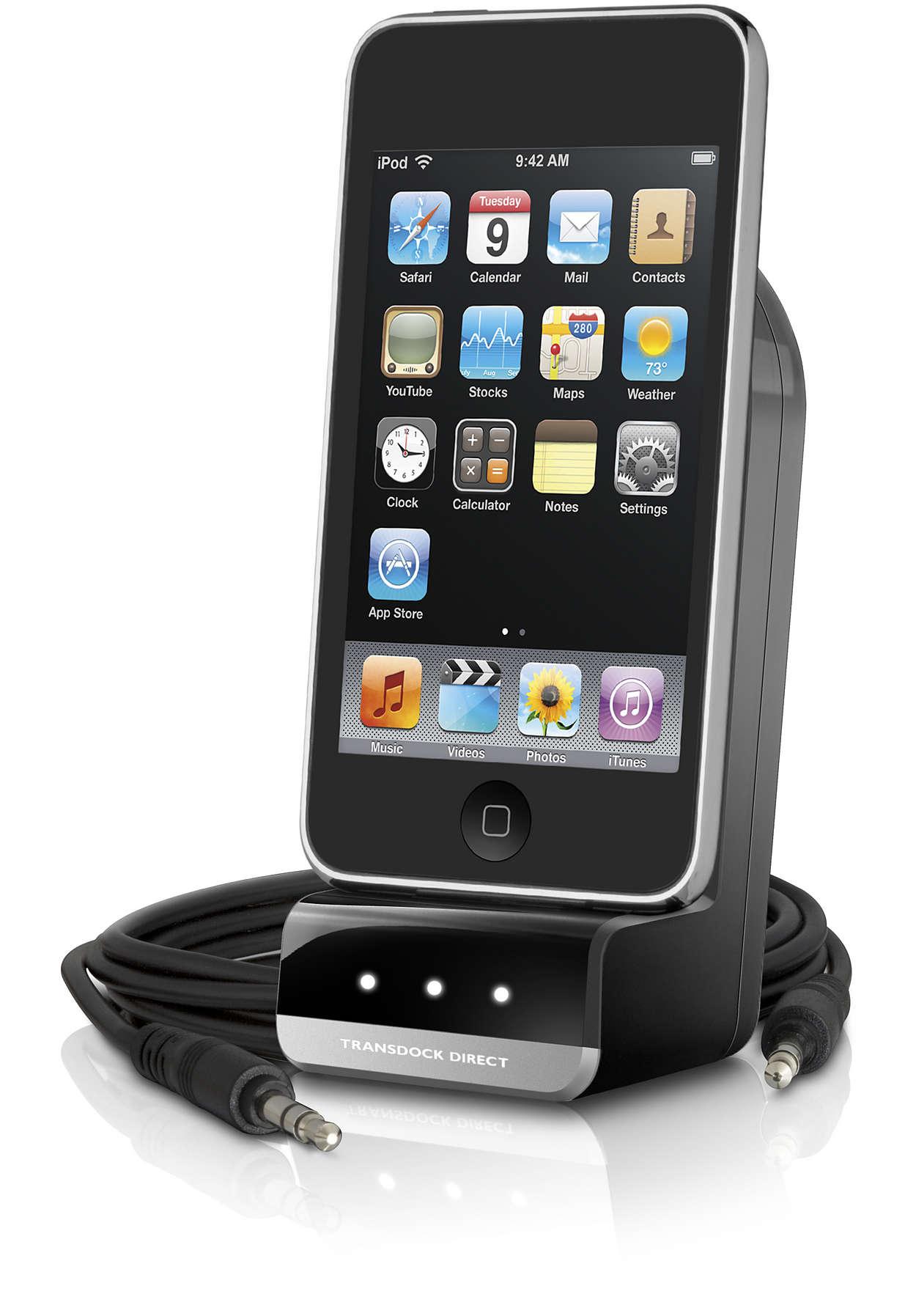 Afspil og oplad din iPod i bilen