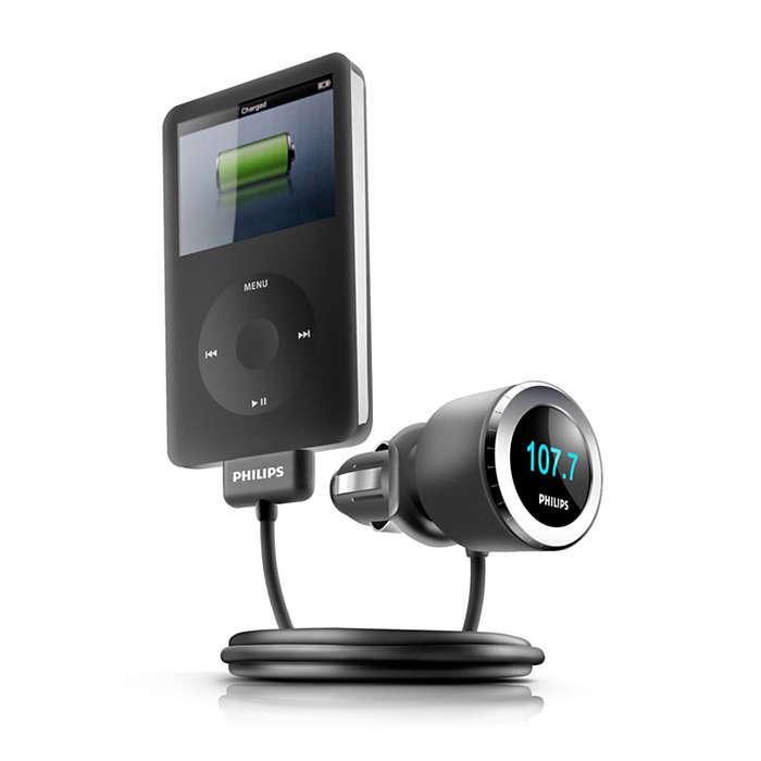 Воспроизведение и зарядка iPod в машине