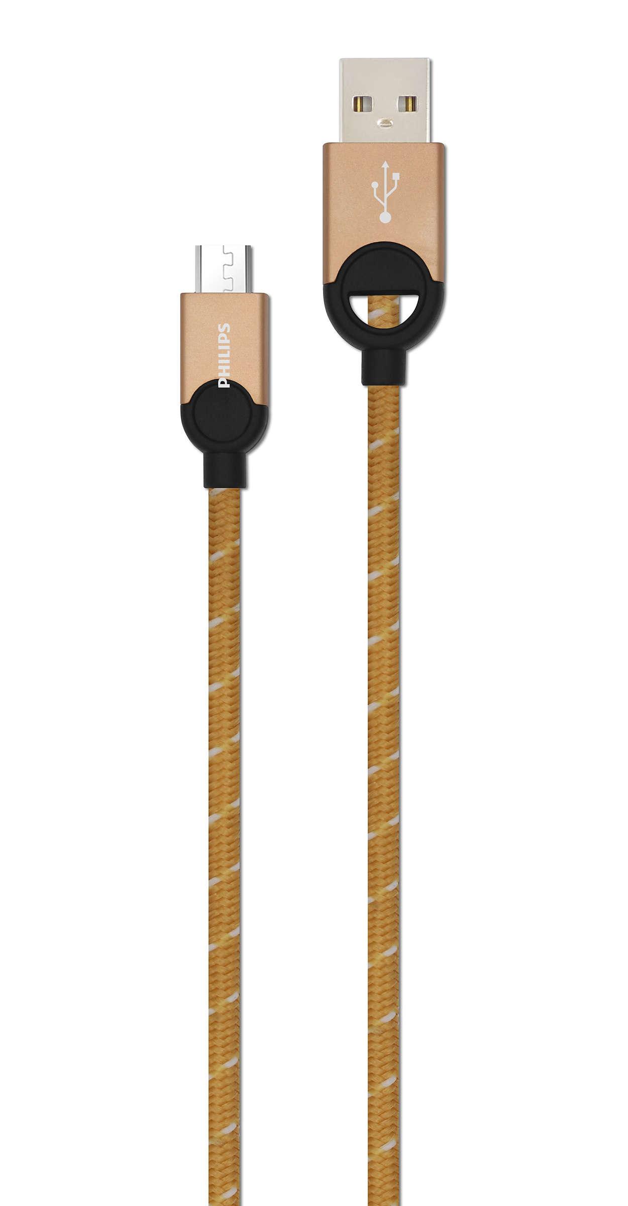 Cabo para carga e micro USB para sincronização de 1,2 m
