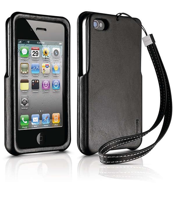 使用自訂的硬皮革護套,保護您的 iPhone,