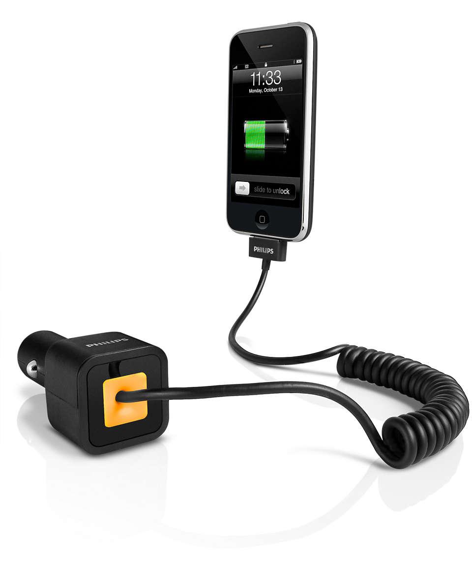 Uw iPhone of iPod opladen in de auto