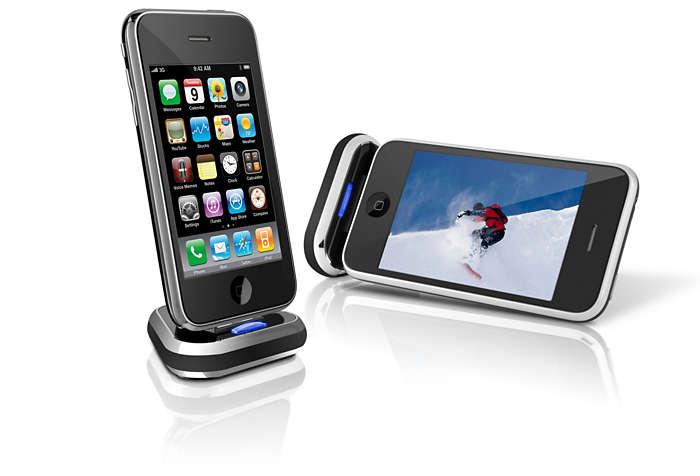 Coloca el iPhone en la base y disfruta de tus vídeos
