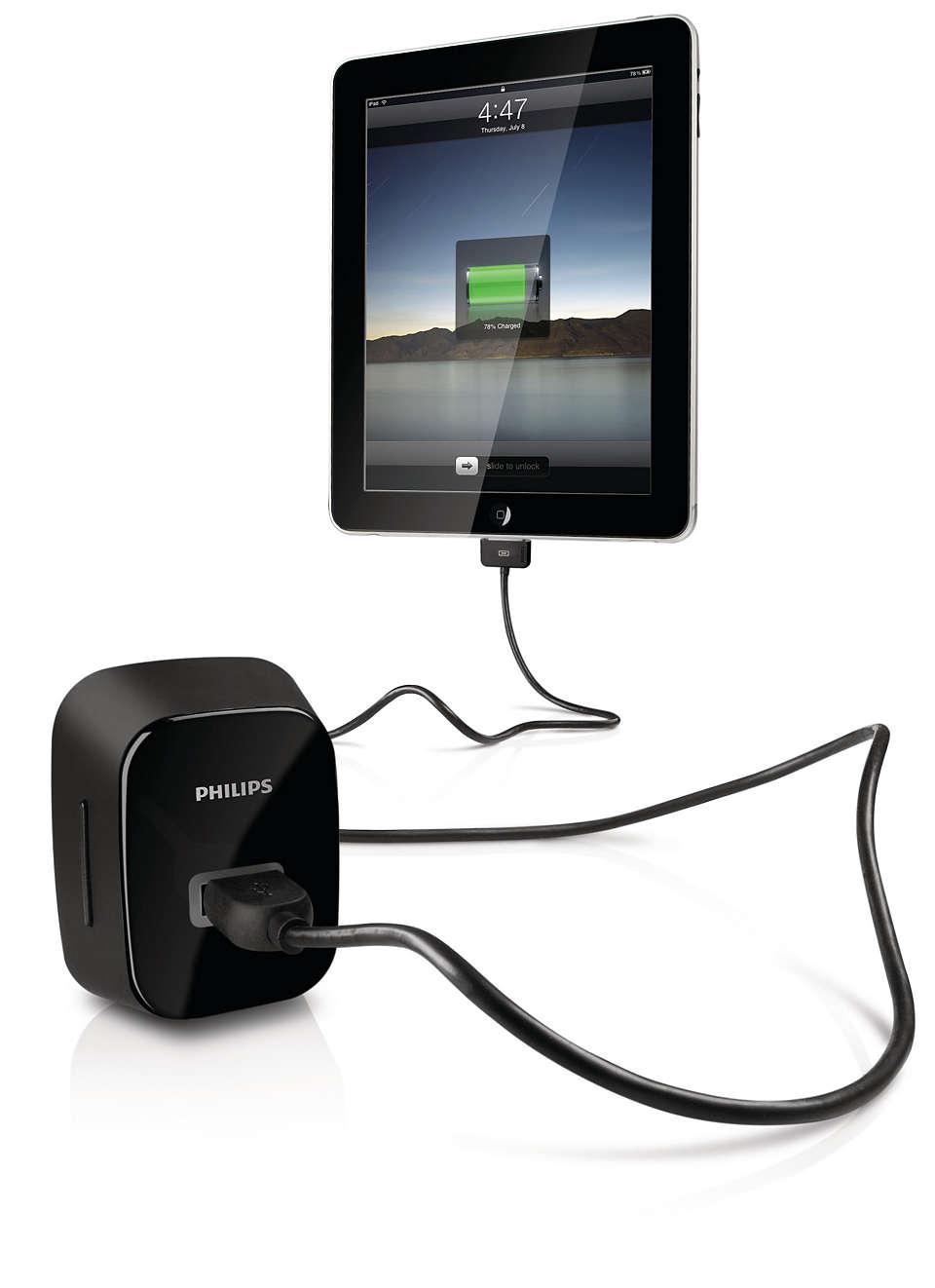 Ładowanie tabletu iPad, telefonu iPhone lub odtwarzacza iPod