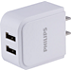 AC USB Charger, 2.4A Two Port White
