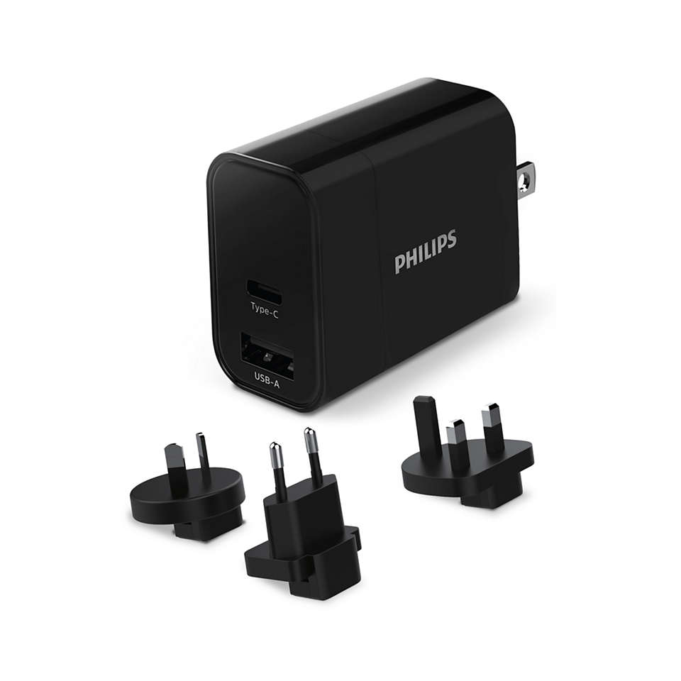 Chargeur secteur de voyage avec ports USB-A et de typeC