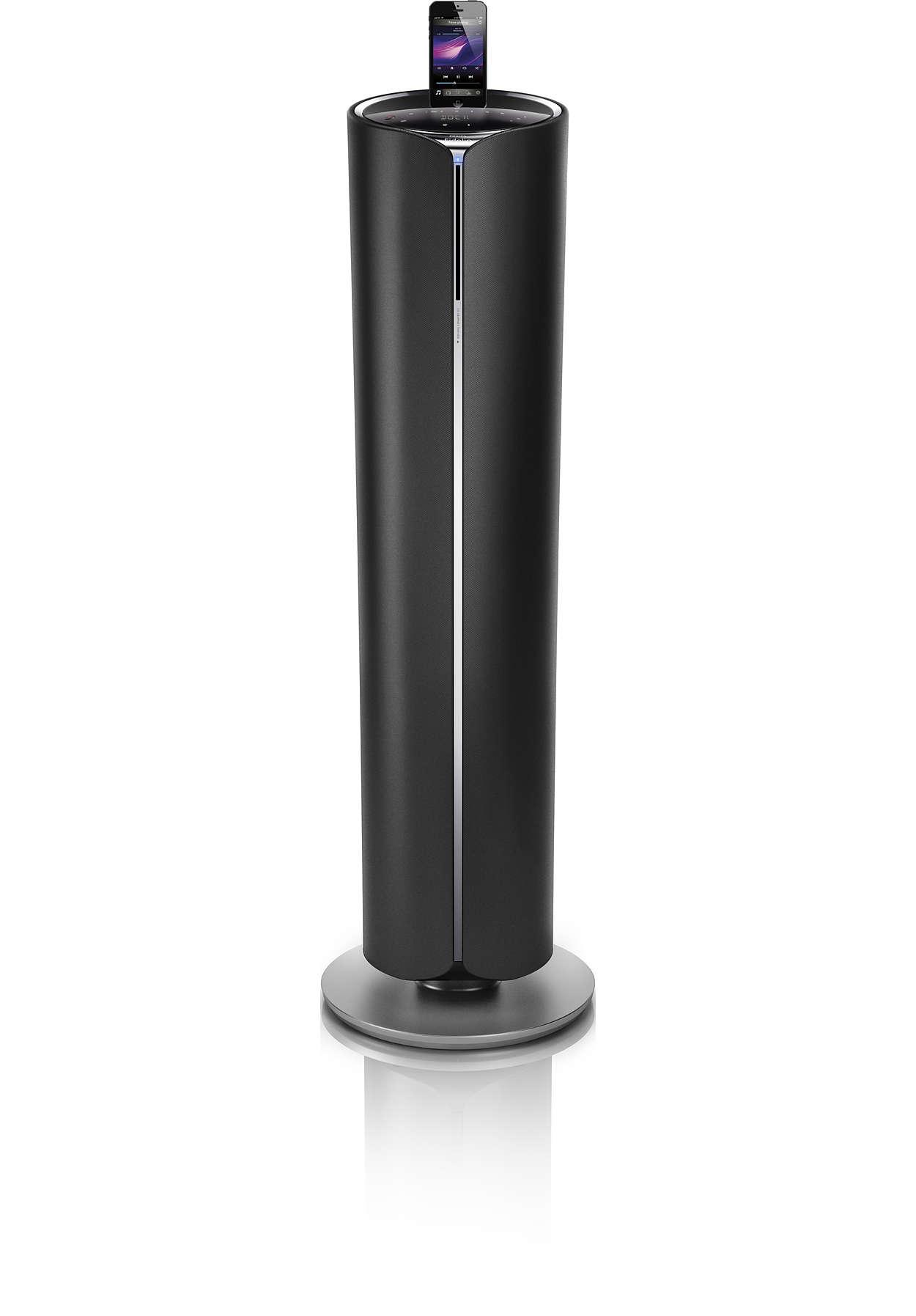 docking tower soundsystem im integriertem subwoofer dtm5096 12 fidelio. Black Bedroom Furniture Sets. Home Design Ideas