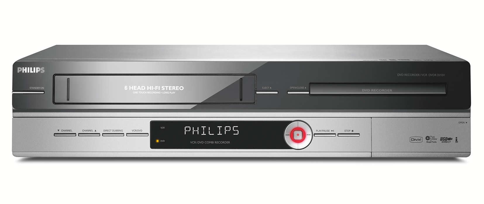 Nagrywarka Dvd Z Magnetowidem Dvdr3510v 58 Philips Kaset Rw Przekszta Swoje Kasety Vhs Na Pyty