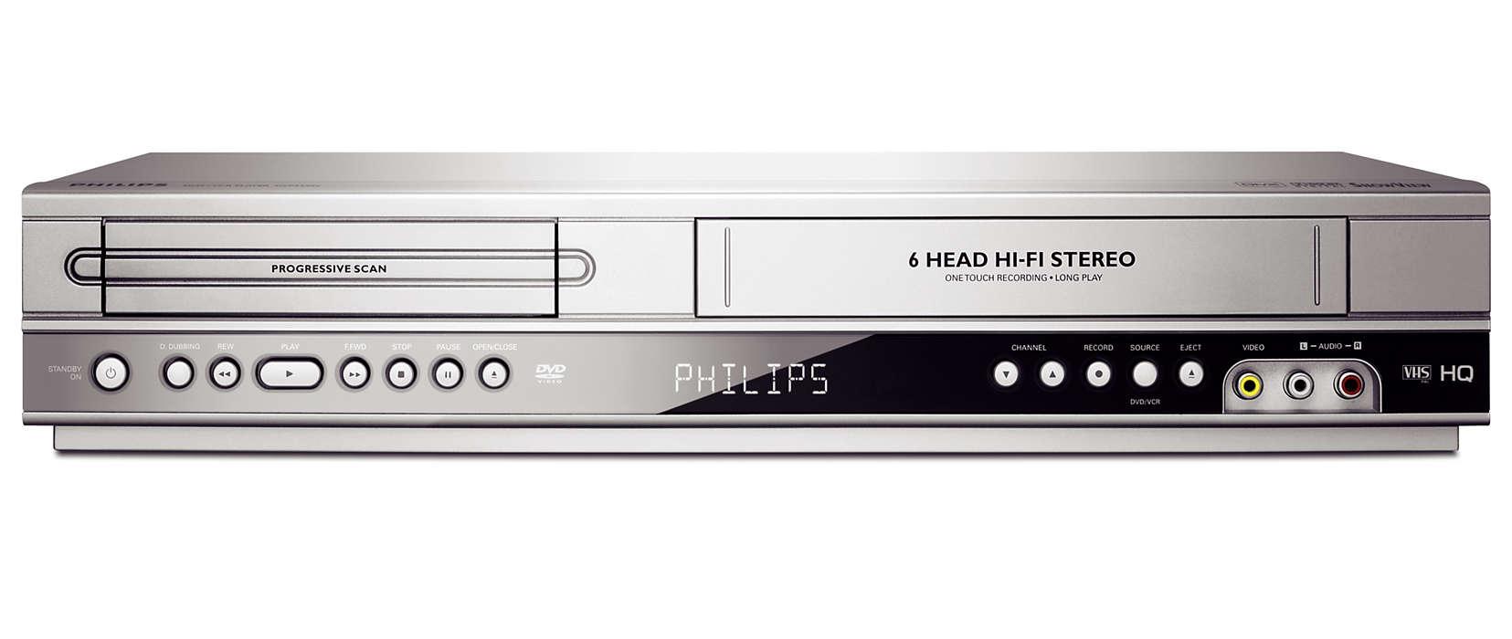 Reproduz DVDs e cassetes em VHS