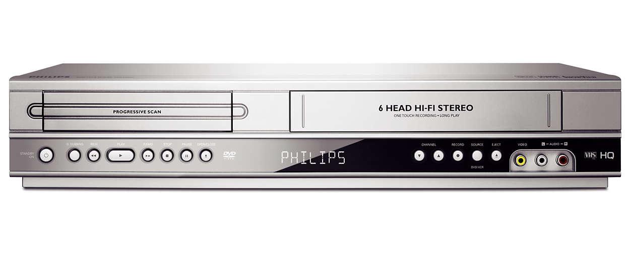 Přehrává disky DVD a kazety VHS