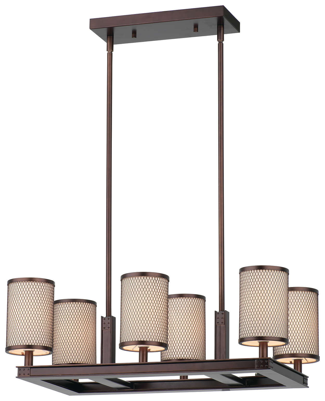 I Beam 6-light Chandelier in Merlot Bronze finish
