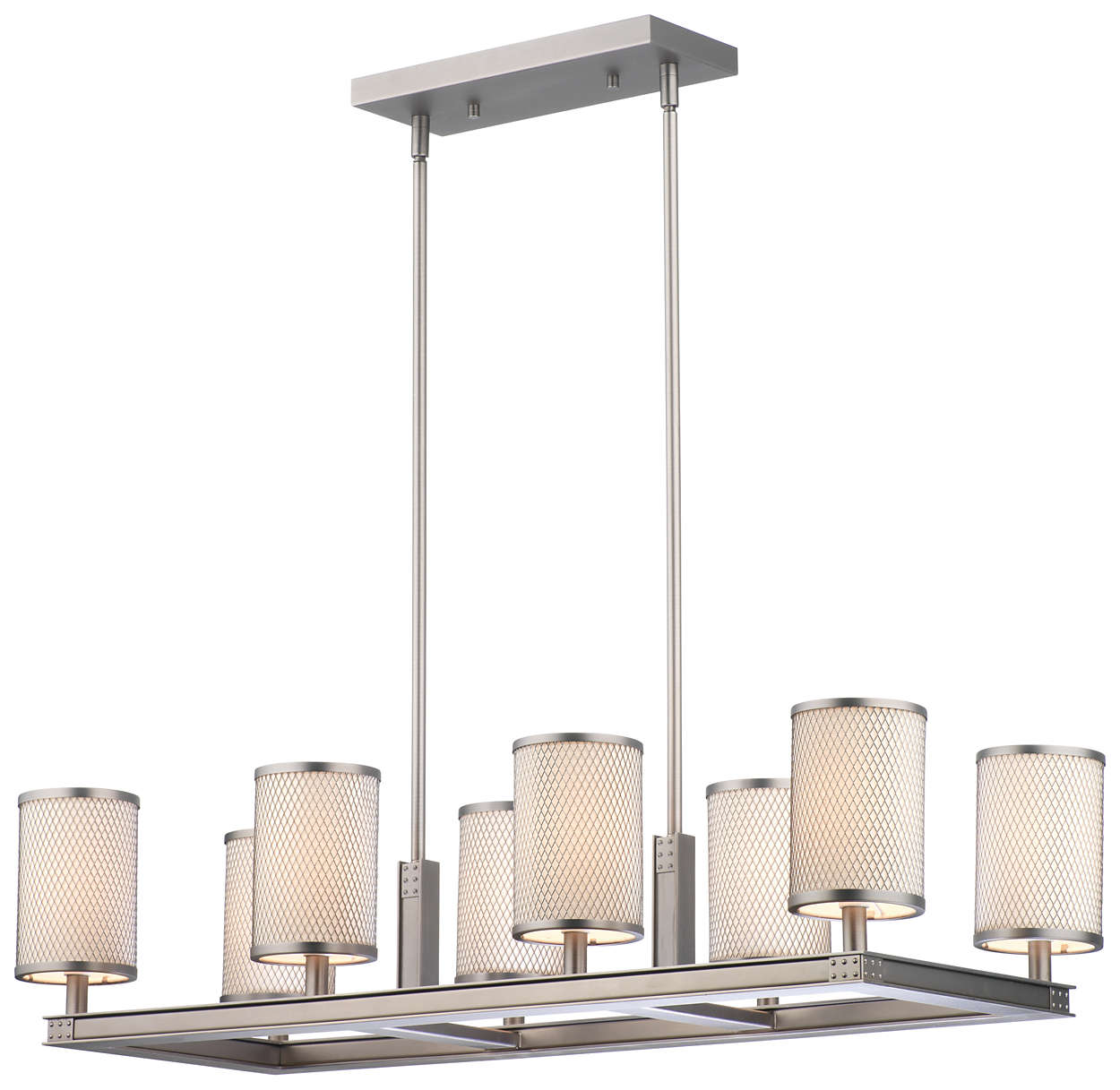 I Beam 8-light Chandelier in Gun Metal finish