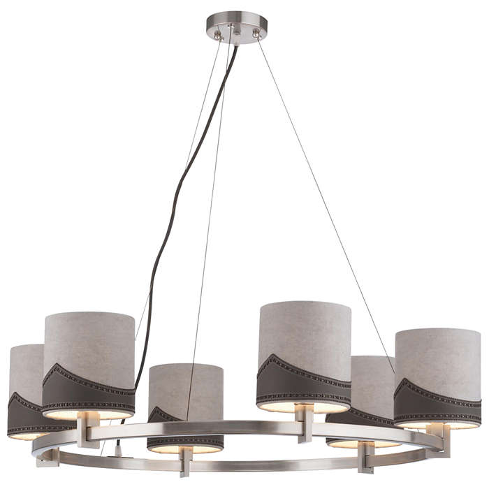 Wing Tip 6-light Chandelier in Satin Nickel finish