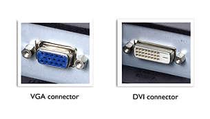 De tweevoudige ingang herkent VGA-signalen en digitale DVI-signalen