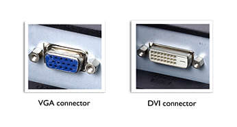 Dual input accepts both analogue VGA and digital DVI signals