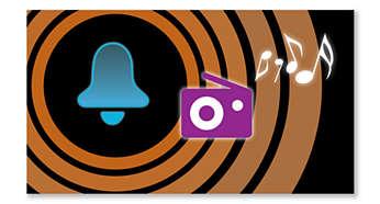 Acorde ao som da sua estação de rádio favorita ou de um alarme