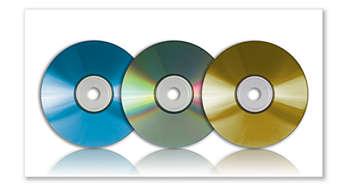 Reproduz DVD, DVD+R e DVD+RW