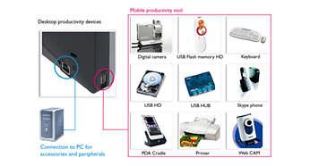 Port USB pour une connexion aisée aux périphériques