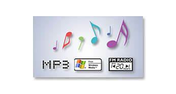 Enjoy MP3 and WMA music plus FM tuner