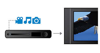 Plays DivX, MP3, WMA and JPEG digital camera photos