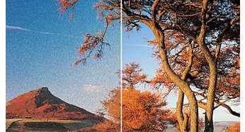 Zwiększanie rozmiaru obrazu do rozdzielczości High Definition zapewniające ostrzejszy obraz, dzięki złączu HDMI 1080p