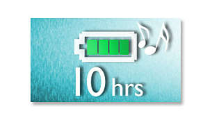 Enjoy up to 10 hours of music playback*