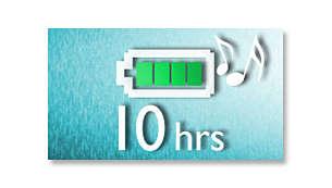 Genießen Sie eine Wiedergabe von bis zu 10 Stunden*