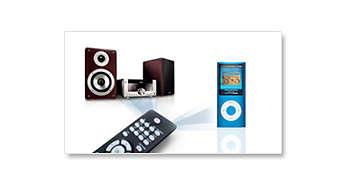 En fjärrkontroll för systemet och iPod