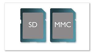 Logement pour carte SD/MMC pour les films et les photos