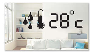 Built-in hygrometer displays indoor humidity