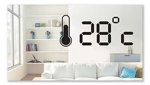Temperature display for the indoor temperature