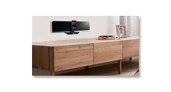 Diseño compacto y estético que se puede colocar sobre un mueble o montar en una pared