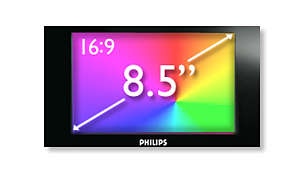 "21.6 cm/8.5"" widescreen LCD display for high quality viewing"
