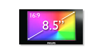 "8.5"" widescreen LCD display for high quality viewing"