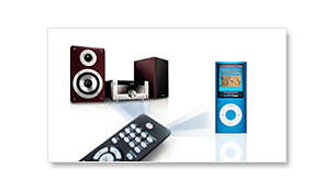 All-in-one remote control for the system and for your iPod
